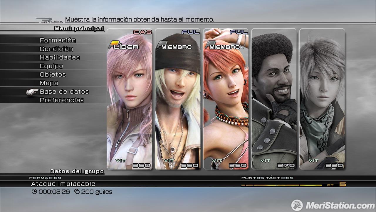 Gestion de armas e inventario en Final Fantasy XIII